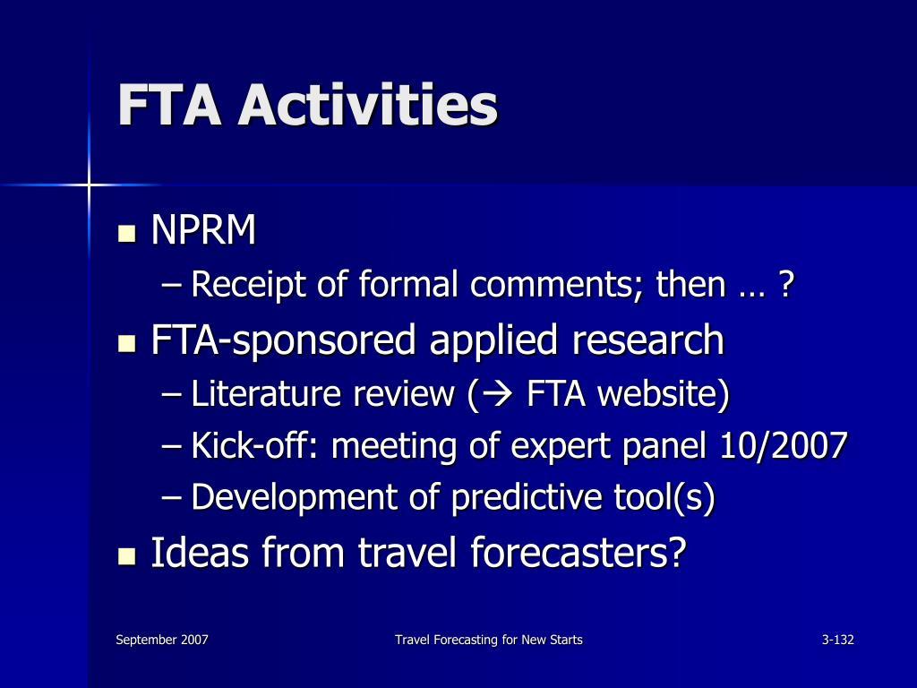 FTA Activities