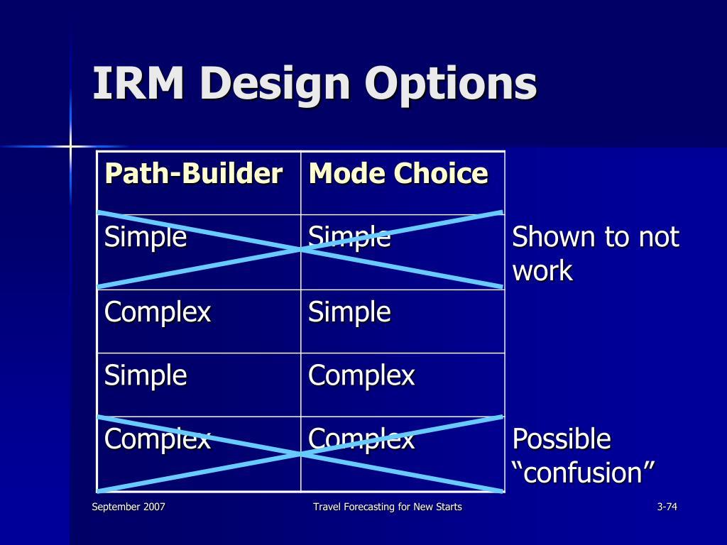 IRM Design Options