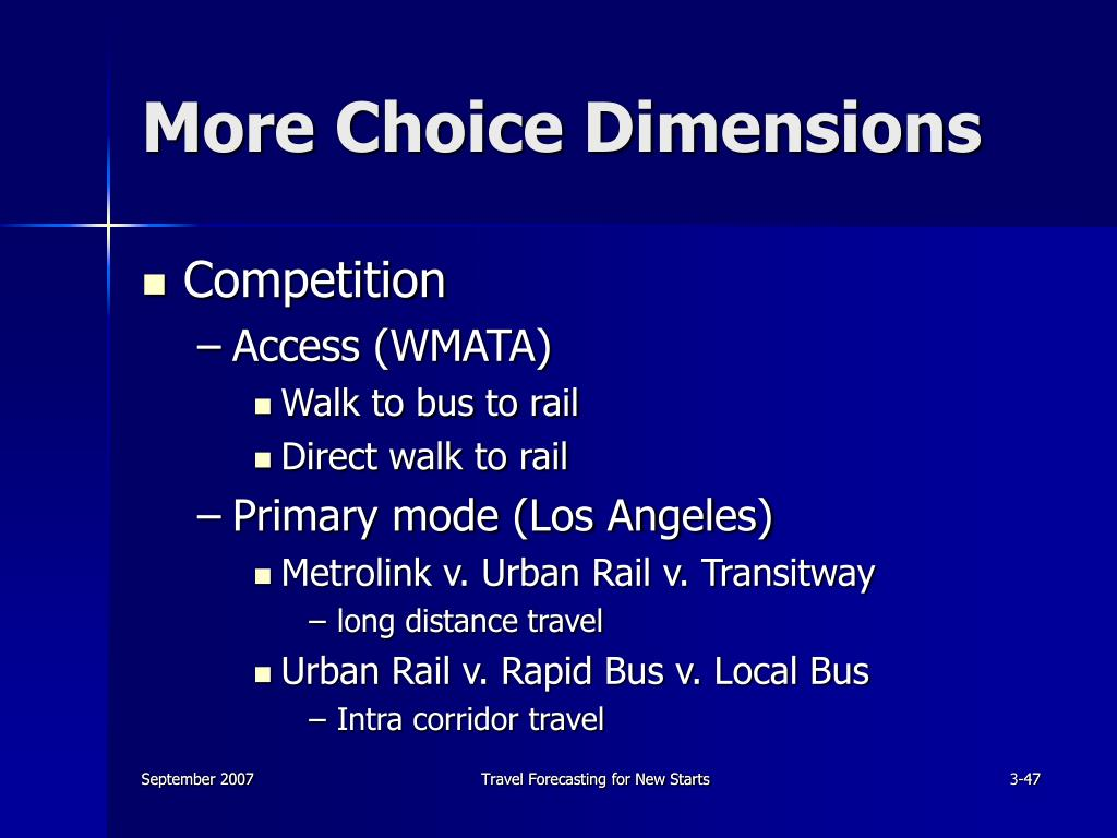 More Choice Dimensions