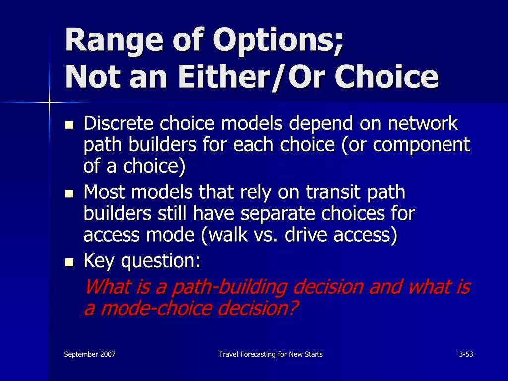 Range of Options;