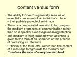 content versus form