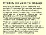 invisibility and visibility of language