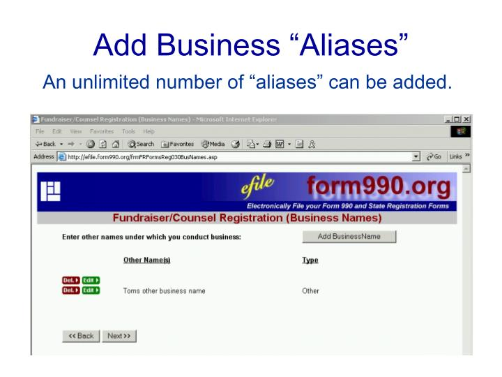 """Add Business """"Aliases"""""""