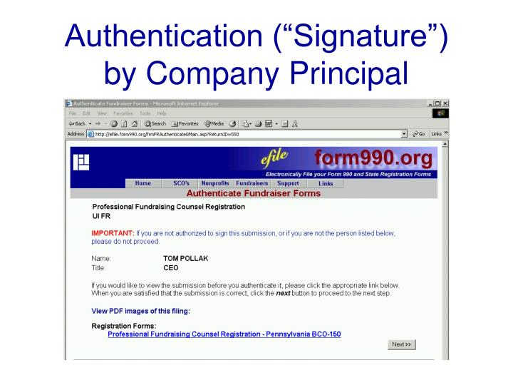 """Authentication (""""Signature"""")"""