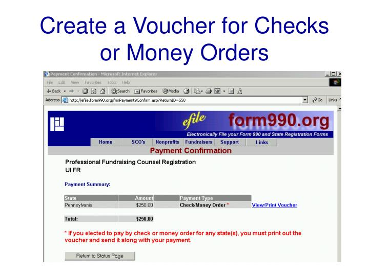 Create a Voucher for Checks or Money Orders