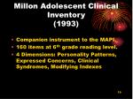 millon adolescent clinical inventory 1993