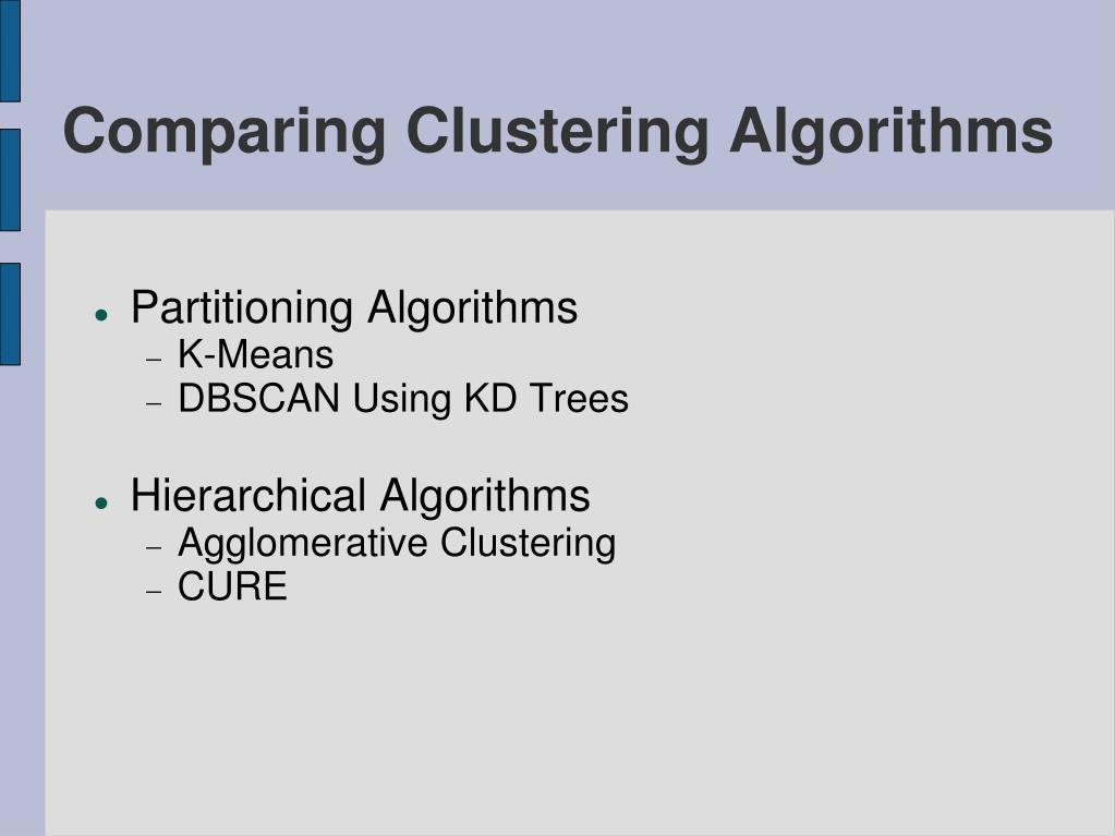 comparing clustering algorithms