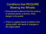 conditions that require blowing the whistle