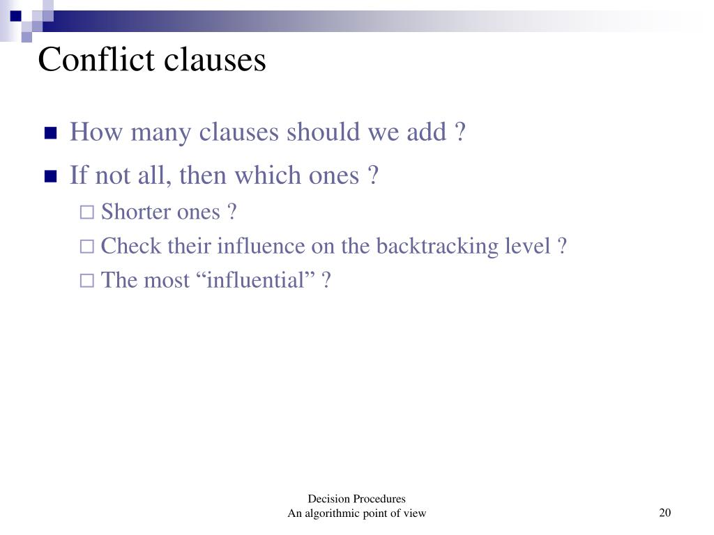 Conflict clauses