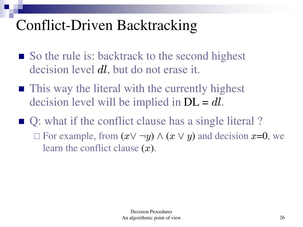 Conflict-Driven Backtracking