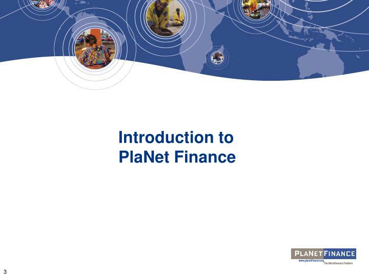 Introduction to planet finance