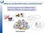 what do we geoinformatics scientists know