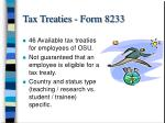 tax treaties form 8233