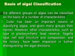 basis of algal classification