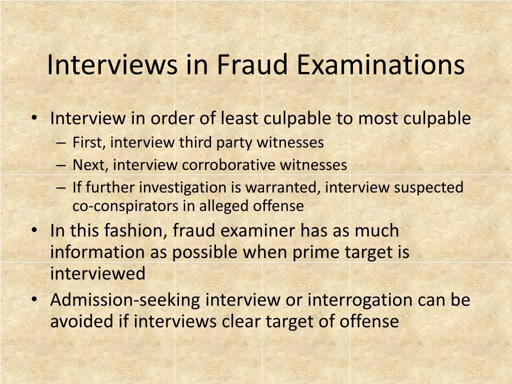 Interviews in Fraud Examinations