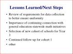 lessons learned next steps