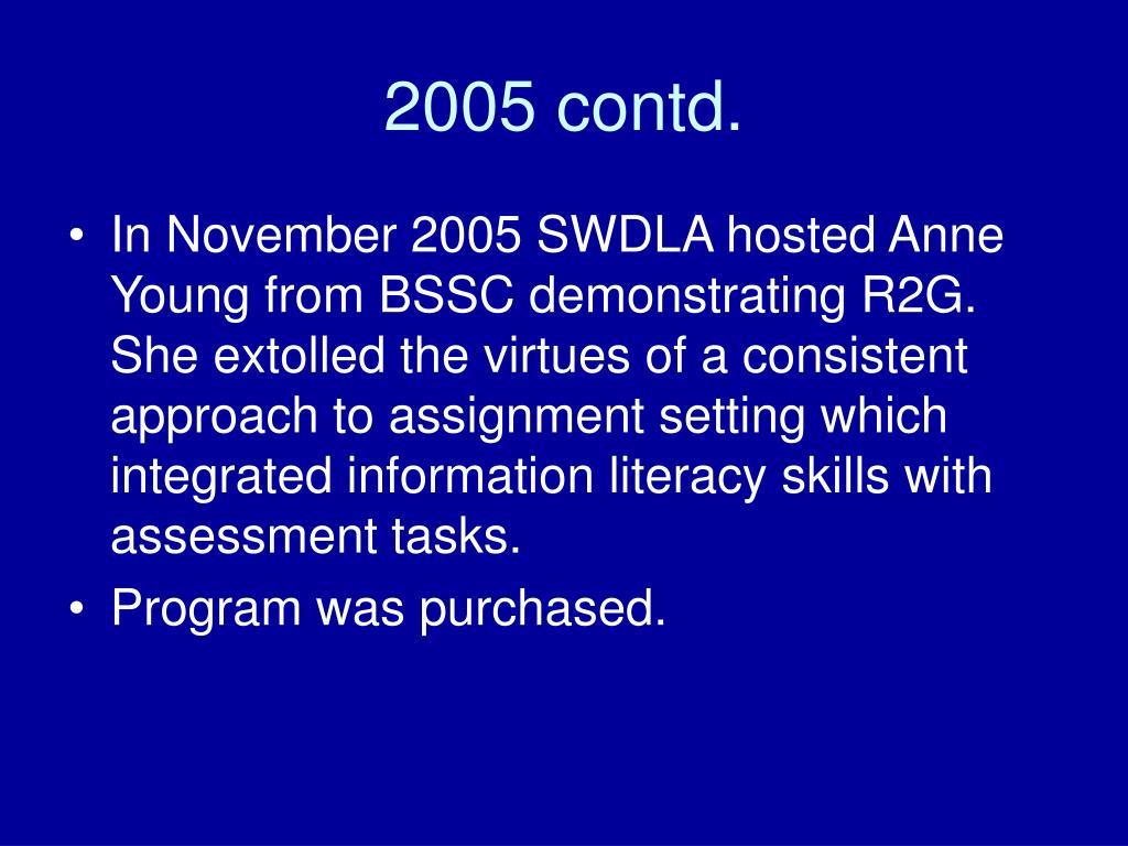 2005 contd.