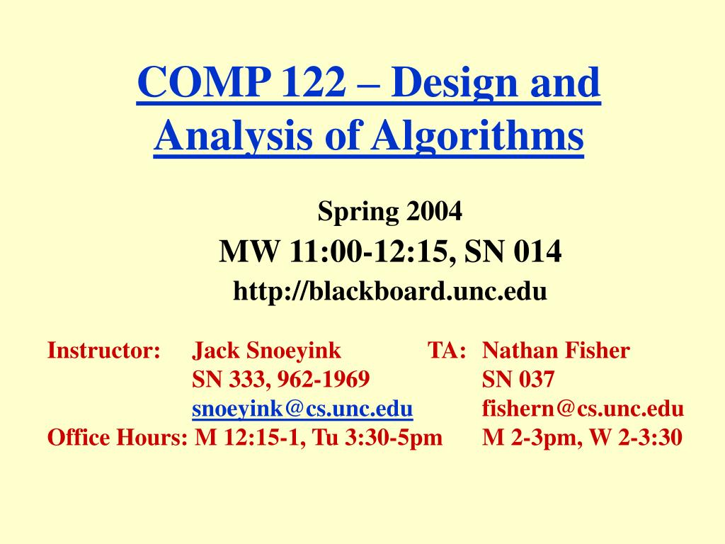 comp 122 design and analysis of algorithms l.