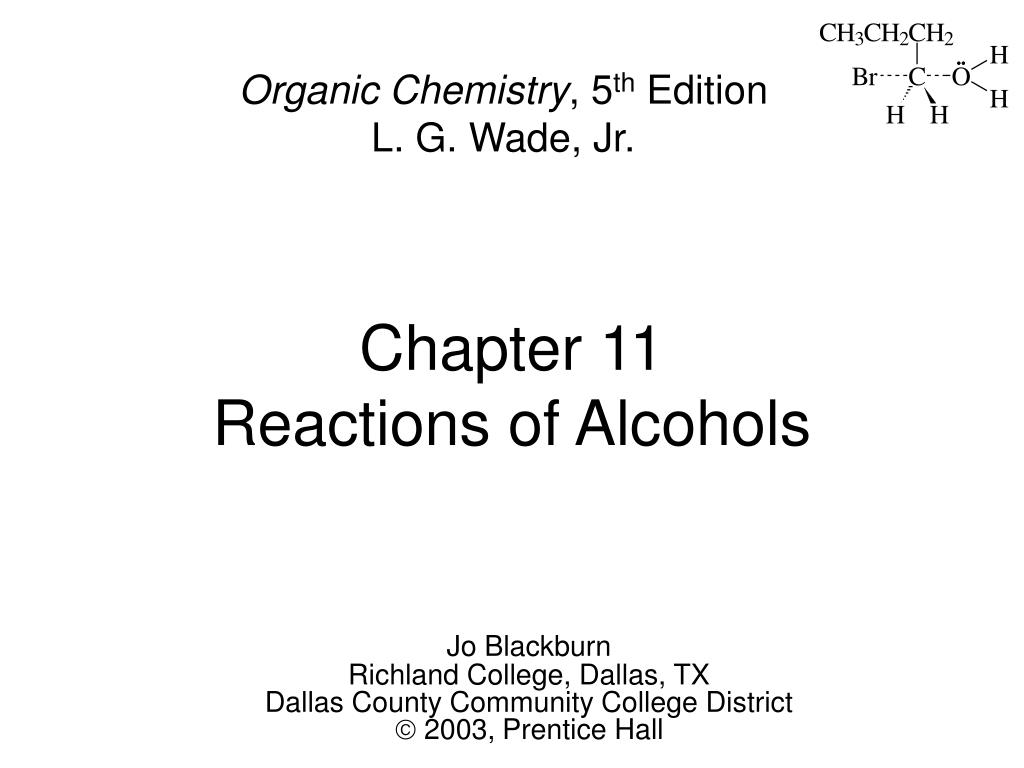 chapter 11 reactions of alcohols l.