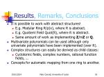 results remarks conclusions