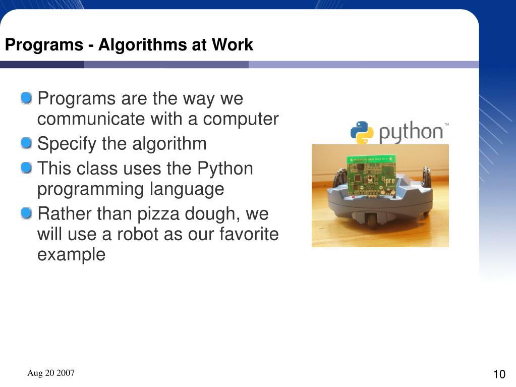 Programs - Algorithms at Work