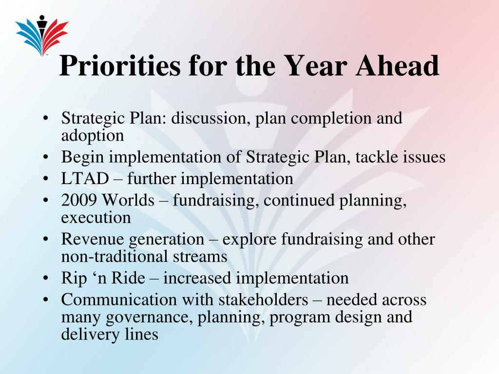 Priorities for the Year Ahead