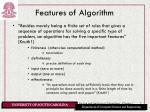 features of algorithm