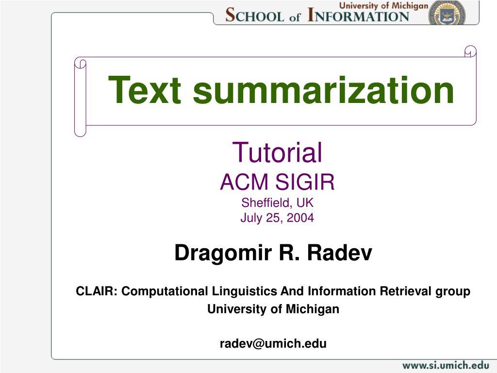 text summarization l.