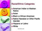 racial ethnic categories