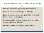 caregiver perspective dreams for the future