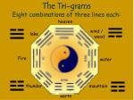 the tri grams eight combinations of three lines each