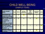 child well being sample items
