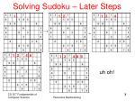 solving sudoku later steps