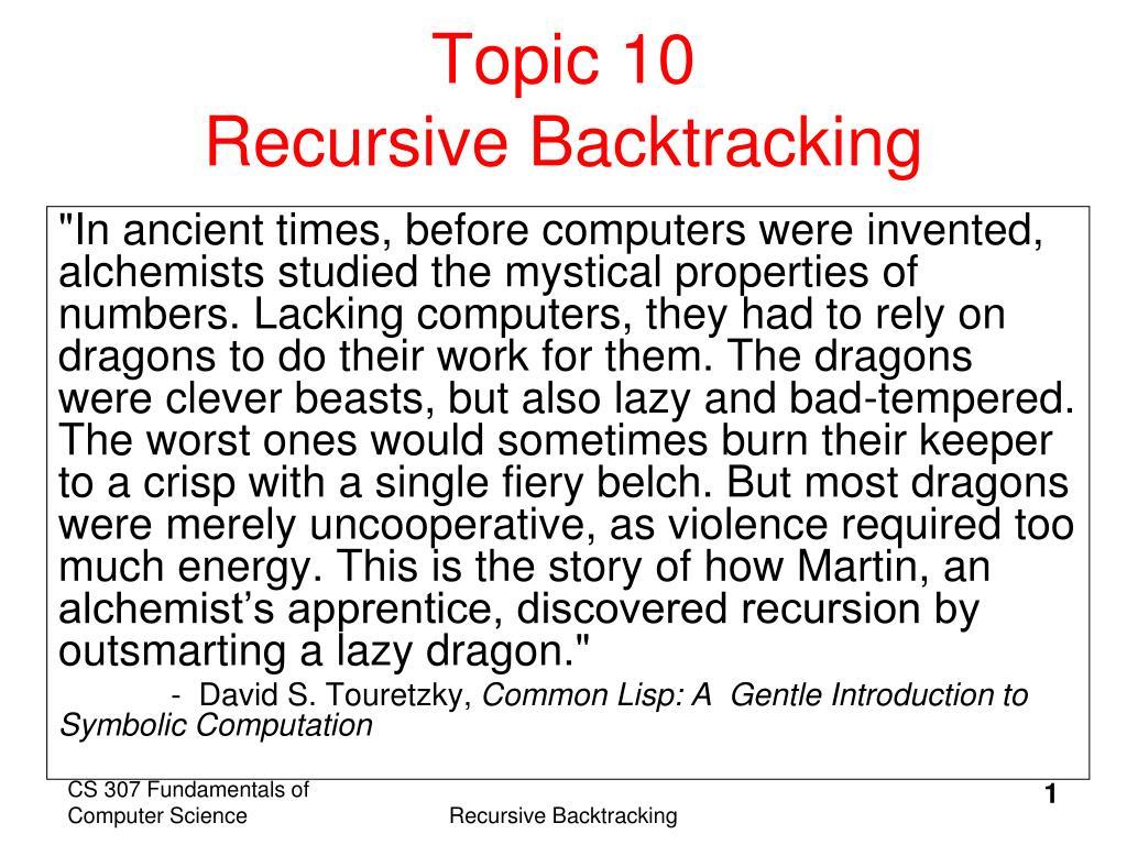 topic 10 recursive backtracking