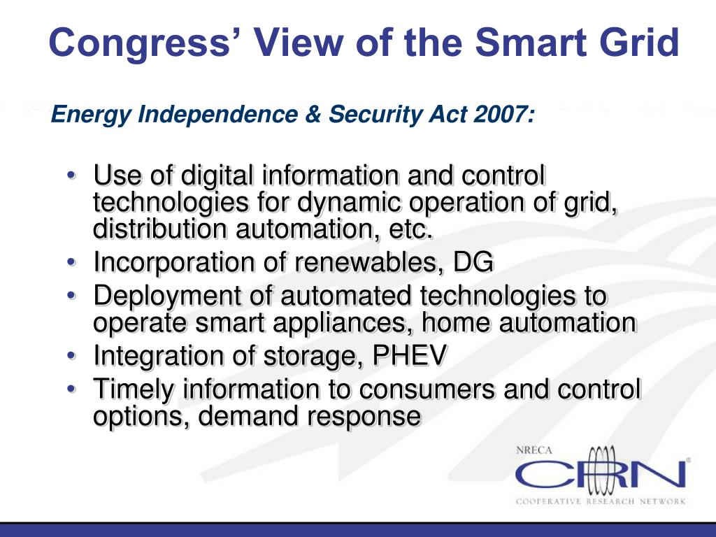 Congress' View of the Smart Grid