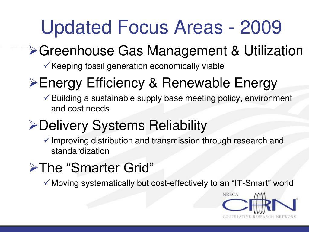 Updated Focus Areas - 2009