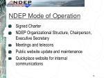 ndep mode of operation