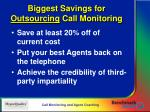 biggest savings for outsourcing call monitoring