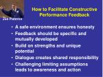 how to facilitate constructive performance feedback