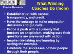 what winning coaches do more