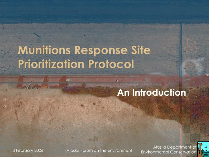 munitions response site prioritization protocol n.