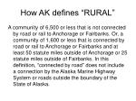 how ak defines rural