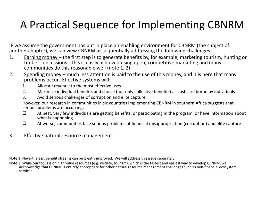 A Practical Sequence for Implementing CBNRM