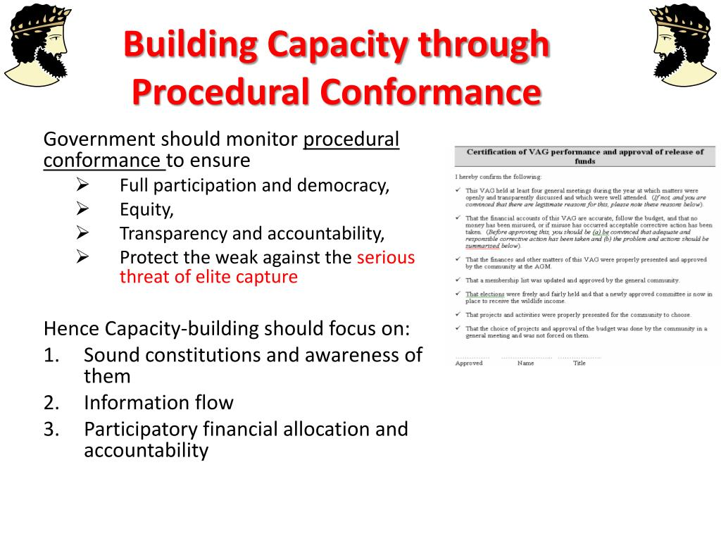 Building Capacity through Procedural Conformance