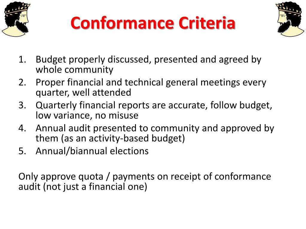 Conformance Criteria
