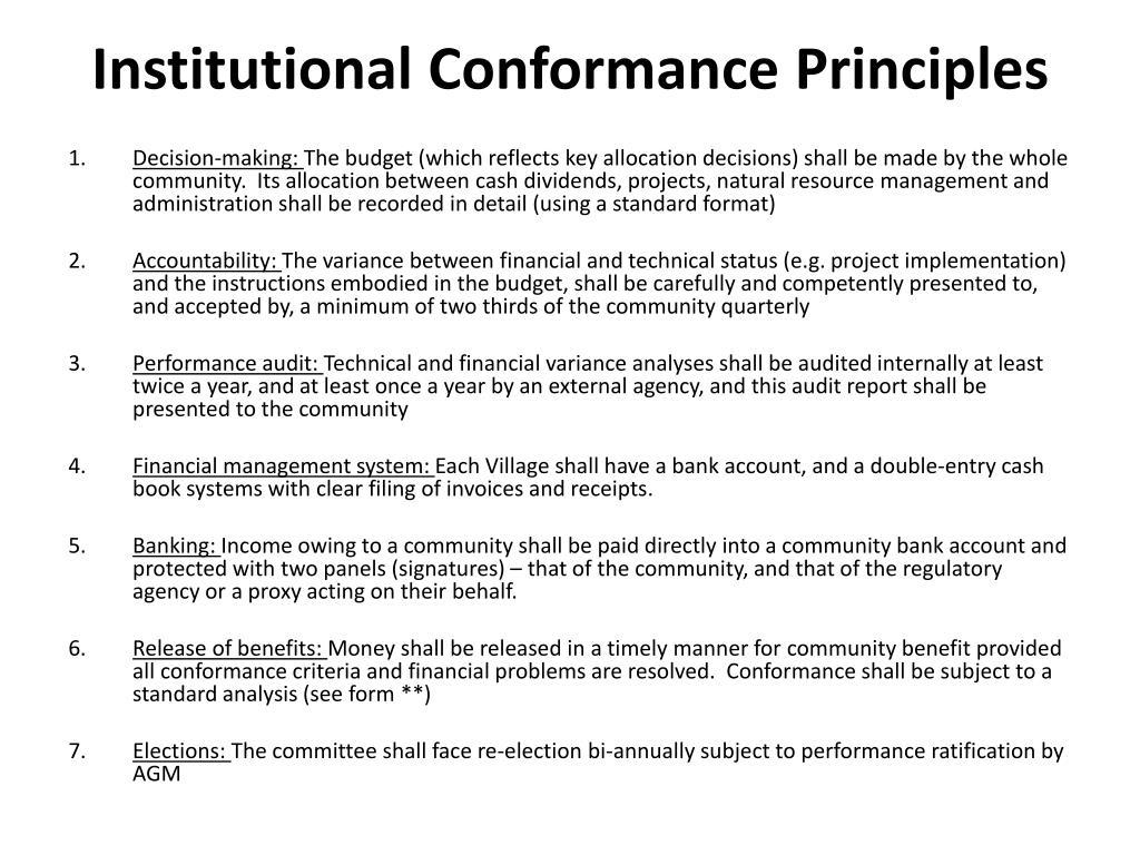 Institutional Conformance Principles