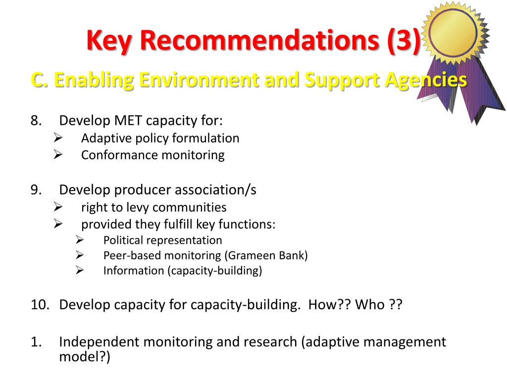 Key Recommendations (3)