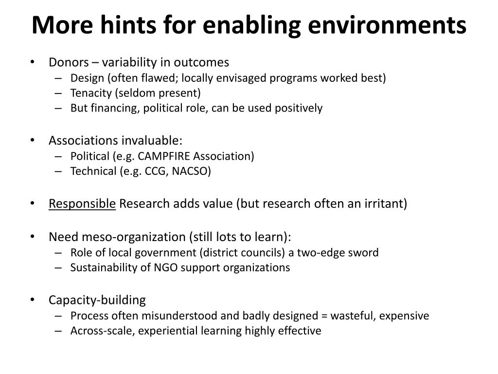 More hints for enabling environments