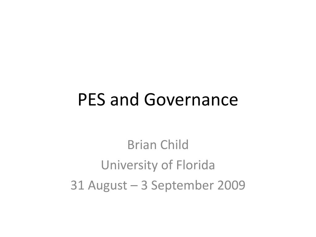 pes and governance l.