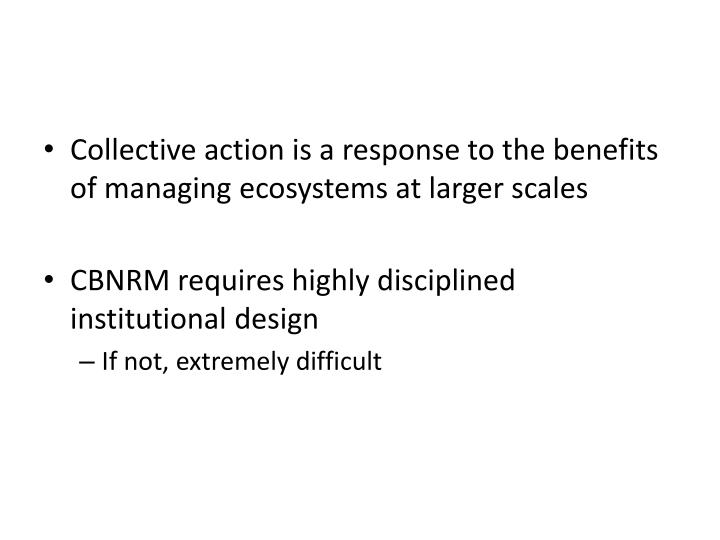 Collective action is a response to the benefits of managing ecosystems at larger scales